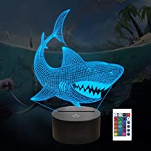 Shark 3D Illusion Night Light Animal Touch Table Desk Lamp, with Remote Control 16 Colors Optical USB LED Nightlight for K...