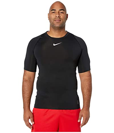 Nike Big Tall Pro Compression Short Sleeve Training Top (Black/White/White) Men