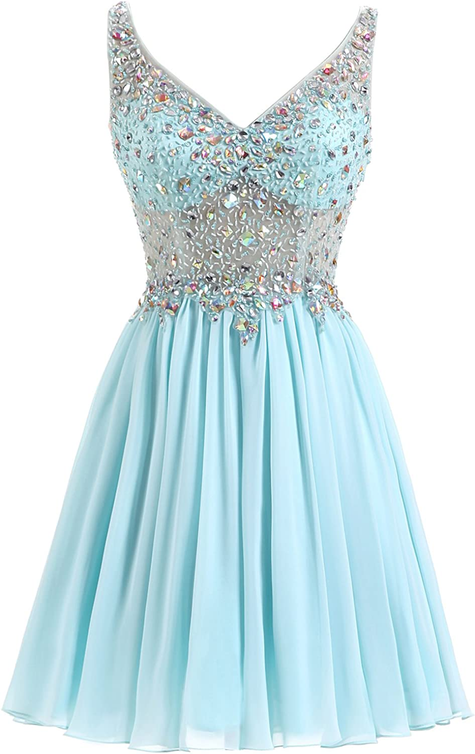 Epinkbridal Women's Short Beaded Bodice Prom Party Dress Crystal Homecoming Dress for Juniors