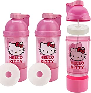 Zak! (3 Pack) Hello Kitty Kids Snack & Sip BPA Free Plastic 15oz Water Bottle Canteen, 2-In-1 Ice Pack Water Bottle
