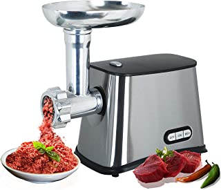 Electric Meat Grinder   Stainless Steel Meat Mincer   Industrial and Home Use   Silver & Black