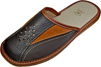 Reindeer Leather Mens House Slipper –Genuine Sheepskin Leather Slippers with Breathable & Odor Resistant Sole, Therapeutic Foot Bed & Traction Sole – Indoor Home Slides for Men