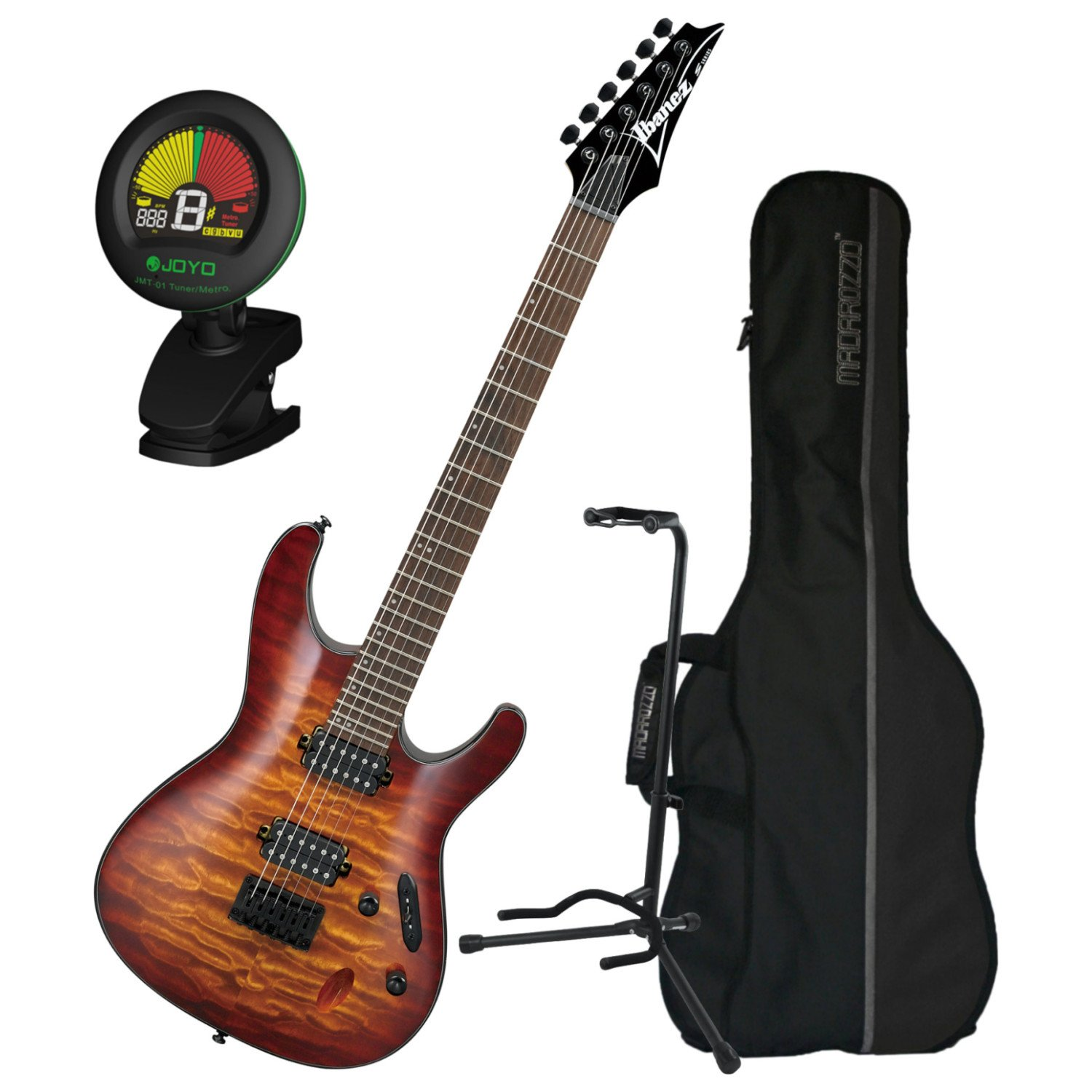 Cheap Ibanez S Series S621QM Dragon Eye Burst Electric Guitar w/ Gig Bag Tuner and Stand Black Friday & Cyber Monday 2019