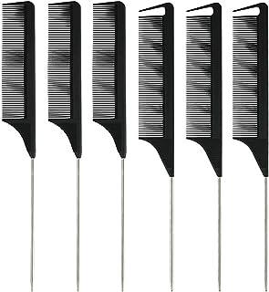 Xgood 6 Packs Black Comb Carbon Fine Cutting Comb Carbon Fiber Hair Styling Combs Hairdressing Comb Heat Resisitant Teasin...