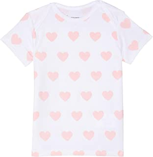 Petit Bamboo Baby Short Sleeve Top, Pink Hearts