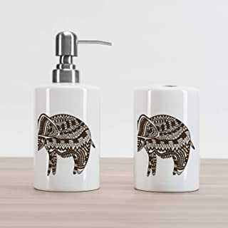Lunarable Ethnic Soap Dispenser and Toothbrush Holder Set, Ornamental Elephant Animal Traditional Culture Motif, Ceramic Bathroom Accessories, 4.5