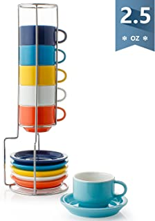 Sweese 404.002 Porcelain Stackable Espresso Cups with Saucers and Metal Stand - 2.5 Ounce for Specialty Coffee Drinks, Latte, Cafe Mocha and Tea - Set of 6, Hot Assorted Colors