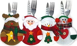 Set of 4 Christmas Silverware Decor Holder, Cutlery Holders, Christmas Dinner Flatware Holder Pockets (Style 01)