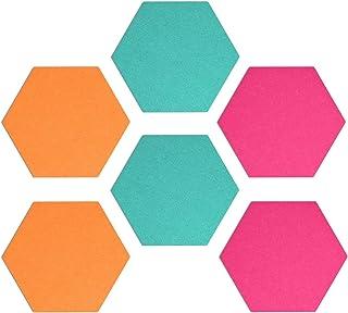 Navaris Hexágono de fieltro autoadhesivo - Set 6 paneles adhesivos de pared - 15 x 17.7 CM - Tablones para dormitorio ofic...