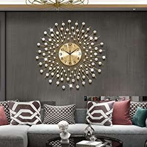 JTWALCLOCK Gold Large Wall Clocks for Living Room Decor Extra Big Giant Decorative Battery Operated Farmhouse Wall Clocks for Kitchen Bedroom Oversized Non Ticking Metal Wall Clock for Office Indoor