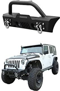 Span Black Textured Rock Crawler Offroad Front Bumper Includes 2X D-Ring 2X Holes for Fog Lights and Winch Mounting Plate fits 2007-2018 Jeep Wrangler JK