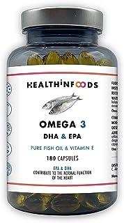 Omega 3 Healthinfoods Aceite de Pescado Ultra Puro -2250mg DHA+450 EPA/Dosis diaria con Vitamina E-180 cápsulas-Efecto Anti inflamatorio-Reduce la presión arterial-Fabricado en España-GMP