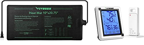 """lowest VIVOSUN Durable Waterproof Seedling Heat Mat Warm online Hydroponic sale Heating Pad 10"""" x 20.75"""" and Dightal Hygrometer Indoor Outdoor Thermometer Humidity Monitor outlet online sale"""
