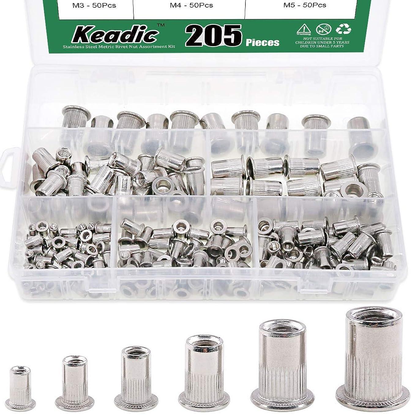 Keadic 205Pcs 304 Stainless Steel Metric Rivet Nut Flat Head Threaded Insert Nutsert Assortment Kit - M3 M4 M5 M6 M8 M10