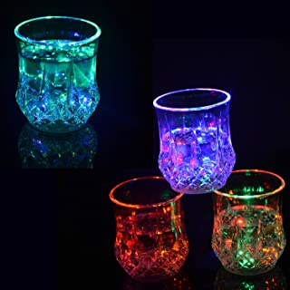 ITODA Flash Light Up Cups Liquid Activated Multicolor LED Bar Night Club Halloween Christmas Party Glittering Cup Automatic Water Flashing Shots Light Drinking Glowing Wine Glasses