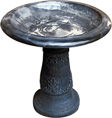 Exaco Trading Co. FM-0203B Ivory/Black Florentine Marbleized Bird Bath Bowl with Dark Pedestal, 20 Inch Diameter and 20.5 Inch high
