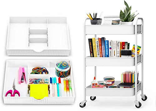 2021 CAXXA outlet online sale 3 Tier Utility Cart - White new arrival + 2 PK Desk Drawer Organizer with Adjustable Dividers - White… outlet sale