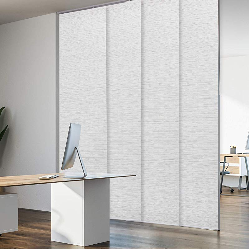 Godear Design Deluxe Adjustable Sliding Panel 51 5 86 X 96 4 Rail Pleated Natural Woven Fabric Mica