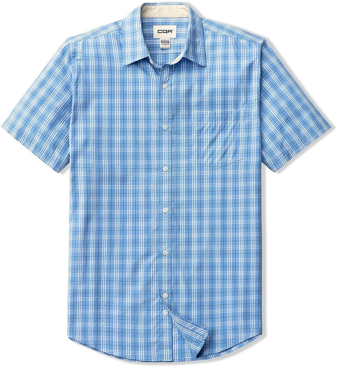 CQR Men's Regular Fit Short Sleeve Shirts, 100% Cotton Button-Up Casual Poplin Shirt