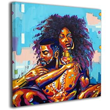 """Okoart 20""""x20"""" African American Lovers Couple Comtemporary Canvas Prints Pictures Painting Home Decoration Wall Decor Ready to Hang"""