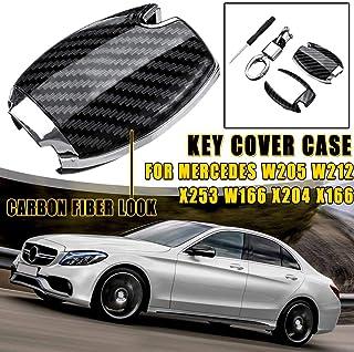 غطاء مفتاح السيارة - غطاء سلسلة مفاتيح من ألياف الكربون البلاستيك غطاء مفتاح ل مرسيدس W205 W212 X253 W166 X204 X166 GLC GLA
