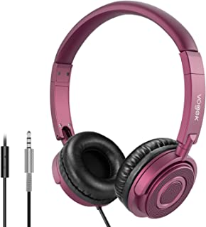 On Ear Headphones with Mic, Vogek Lightweight Portable Fold-Flat Stereo Bass Headphones with 1.5M Tangle Free Cord and Microphone- Claret