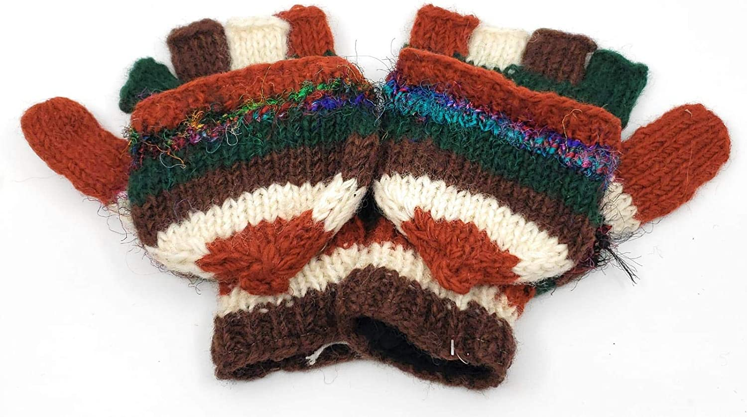 Hand Knit Fingerless Wool and Silk Convertible Texting Gloves to Mittens Fleece Lined Made in Nepal