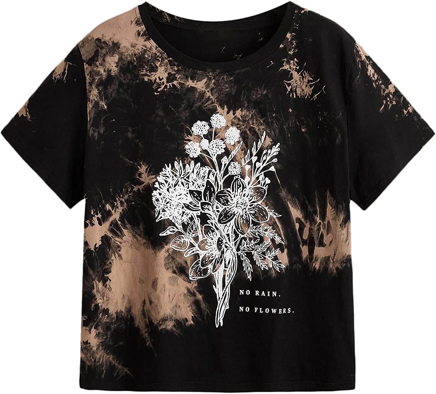 Milumia Women's Plus Size Casual Tie Dye Floral Graphic Short Sleeve Tee Shirt