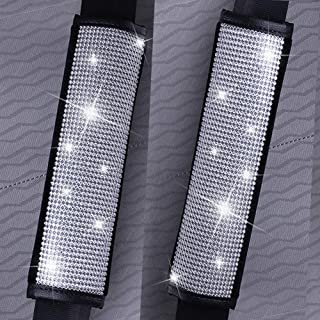 MLOVESIE 2 Packs Leather Seat Belt Shoulder Pads with Crystal Bling Bling Rhinestones for Girls,Lady Universal Fit (Full B...