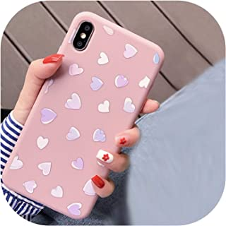 U-See Love Heart Matte Soft Silicon TPU Phone Cases for iPhone Xs Max XR Cases for iPhone X 6 6s 7 8 Plus Gradient Back Cover,for iPhone Xs,Pink