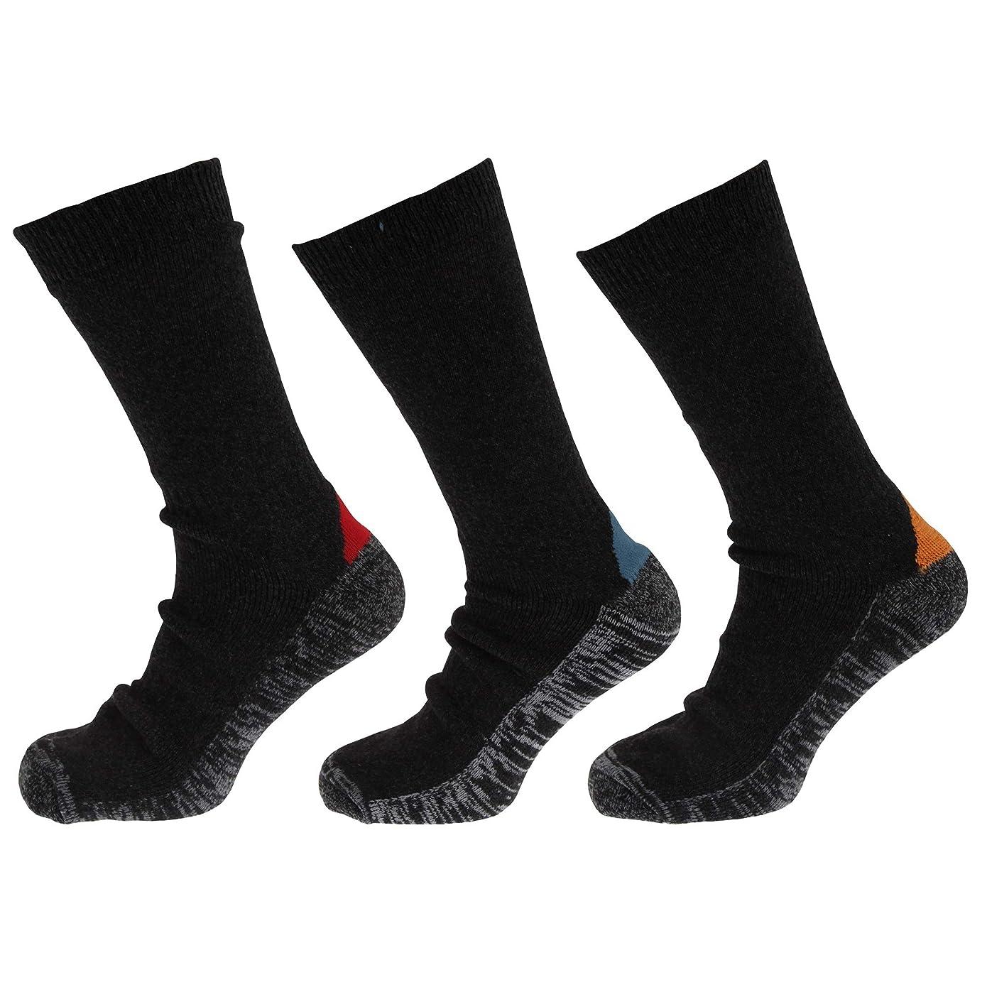 バッジおいしい宿メンズ ウール混 実用 ワークソックス 作業用靴下 ワークウェア 靴下セット 紳士用靴下 (3足組)