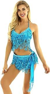 iixpin Falda de Danza Baile para Mujer Falda de Borlas Flecos Cintura El/ástica Falda de Latino Rumba Chacha Traje Bailarina