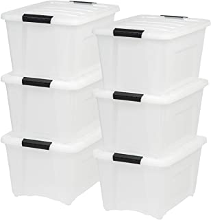 IRIS USA TB-28 32 Quart Stack & Pull Box, Multi-Purpose Storage Bin, 6 Pack, Pearl