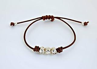 Bracciale pelle regolabile da donna con perline di zama d'argento e pelle, regalo per lei