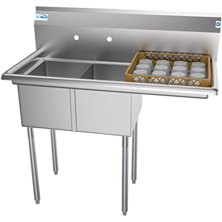 """KoolMore - SB121610-16R3 2 Compartment Stainless Steel NSF Commercial Kitchen Prep & Utility Sink with Drainboard - Bowl Size 12"""" x 16"""" x 10"""", Silver"""