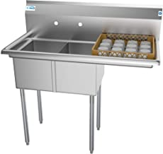 """KoolMore 2 Compartment Stainless Steel NSF Commercial Kitchen Prep & Utility Sink with Drainboard - Bowl Size 12"""" x 16"""" x 10"""", Silver"""