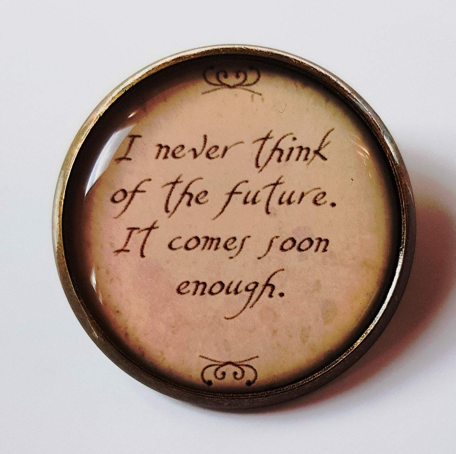 Inspirational Quote Brooch Pin Badge Antique Bronze Courage Jewellery Love NEW