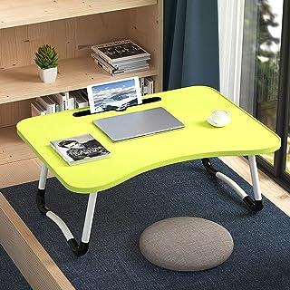 BZN W-shaped Non-slip Legs Adjustable Folding Portable Writing Desk Laptop Desk with Card Slot (Color : Green)