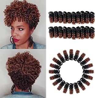 HairPhocas 5 Packs Synthetic Saniya Curly Crochet Hair 10 inch 20roots/pack for Crochet Braids Hair(Black to Brown)