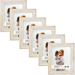 Langdon House 8x10 Real Wood Picture Frames (6 Pack, Weathered White - Gold Accents), White Wooden Photo Frame 8 x 10, Wall Mount or Table Top, Set of 6 Lumina Collection