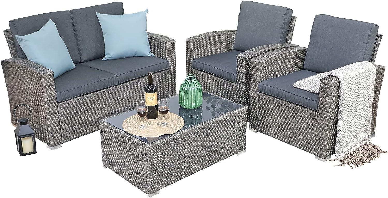 高額売筋 期間限定特別価格 JOIVI Patio Furniture Set 4 Piece Conversation Outdoor Se