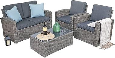 JOIVI Patio Furniture Set, 4 Piece Outdoor Patio Conversation Set, All-Weather PE Rattan Wicker Sectional Patio Sofa Set with