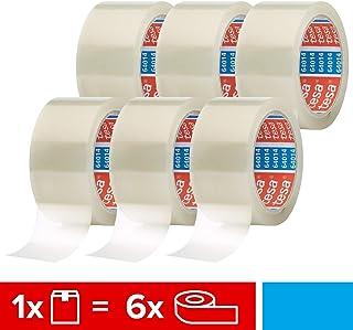 tesapack 64014 im 6er Pack - Geräuscharmes Paketklebeband zum Verpacken von Paketen und Versandschachteln - transparent - 6 Rollen je 66 m