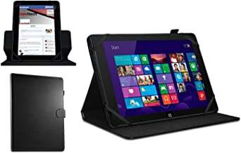 Navitech Black Faux Leather Case Cover with 360 Rotational Stand Compatible with The HP Omni 10 Windows Tablet