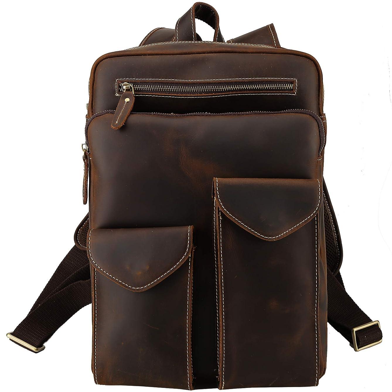 ボクシング寛大さ製造[(チョウギュウ)潮牛] アンティーク風 本革 リュックサック パックバッグ ディパック 厚手牛革 14PC A4対応 2WAY 通学 旅行 鞄 ダークブラウン