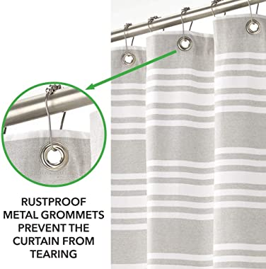 mDesign Premium 100% Cotton Stripe Fabric Shower Curtain, Hotel Quality - for Bathroom Showers and Bathtubs, Super Soft, Easy