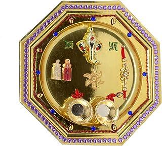 Confidence Decorative Pooja Thali, Rakhi Pltter, Tilak Thali, Festival Special Thali With Rakhi, Kumkum And Chawal, For Br...