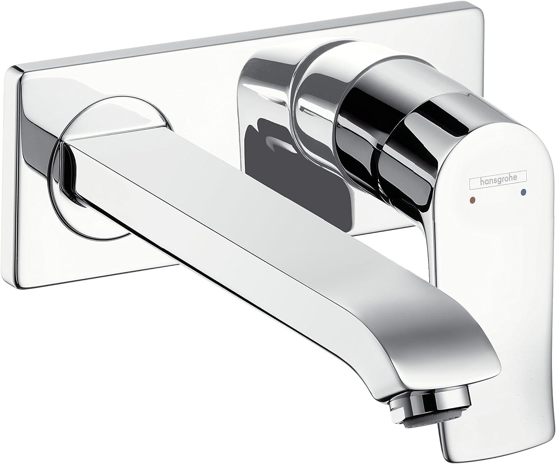 Hansgrohe Metris wassersparender Unterputz Einhebel-Waschtischmischer (Komfort-Auslauf 165mm, Wandmontage) chrom