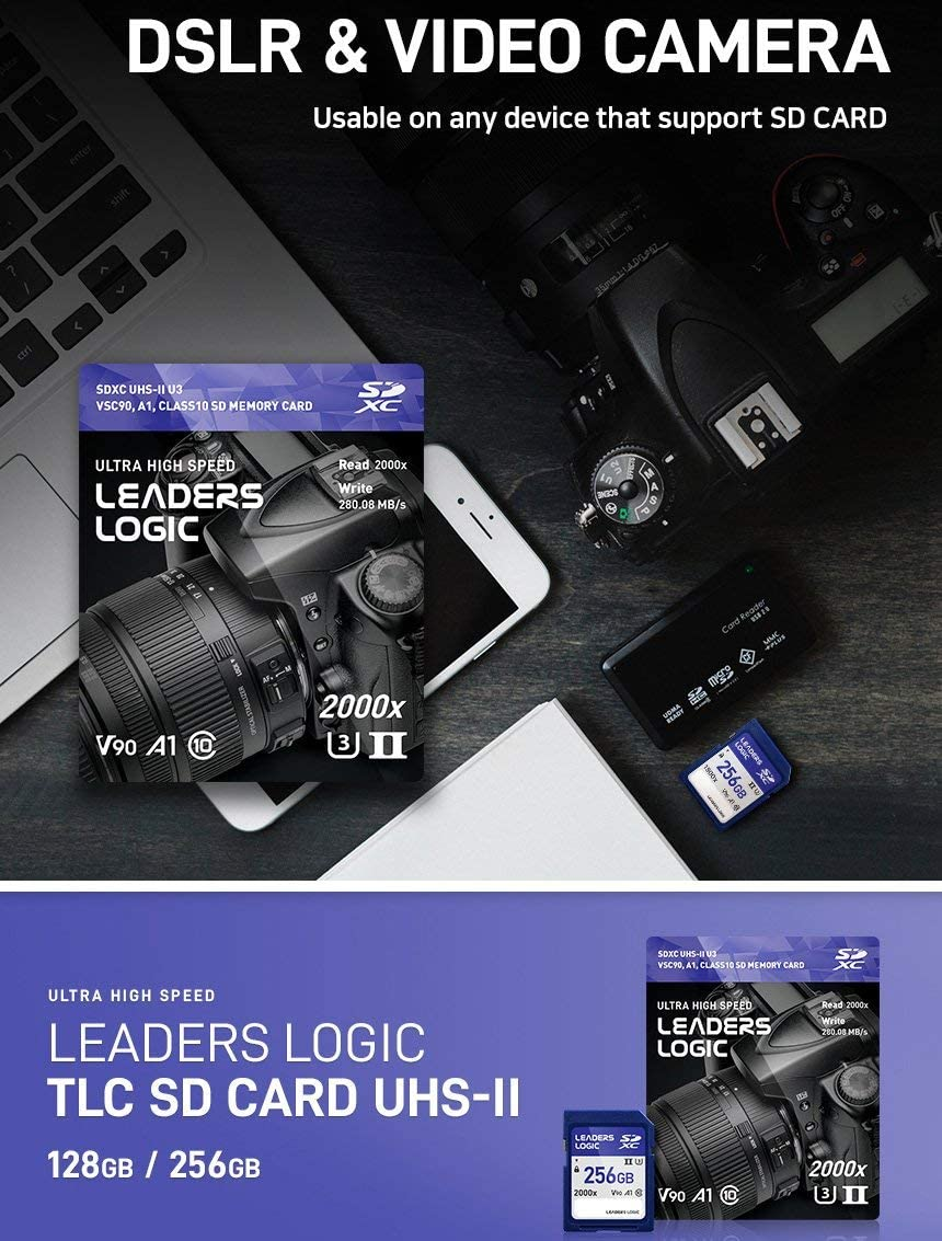 LeadersLogic 2000x SD 128GB Memory Card SDXC UHS-2 UHS-Ⅱ UHS-ii U3 VSC 90 A1 300MB/s Read and 280MB/s Write Speeds Digital Camera Memory Card