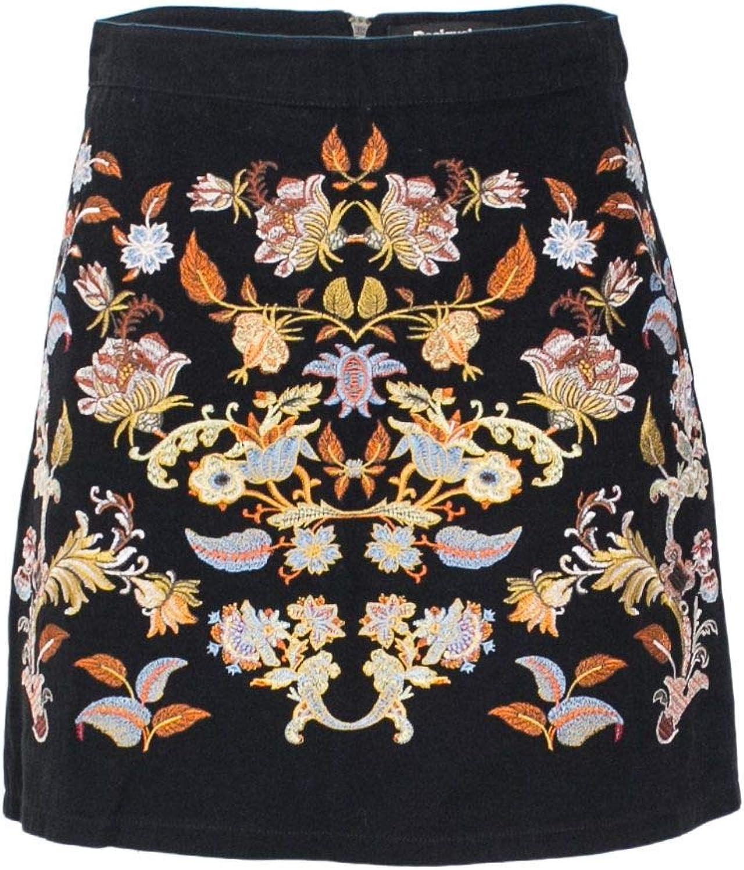 Desigual Women's 18WWFW05BLACK Black Cotton Skirt